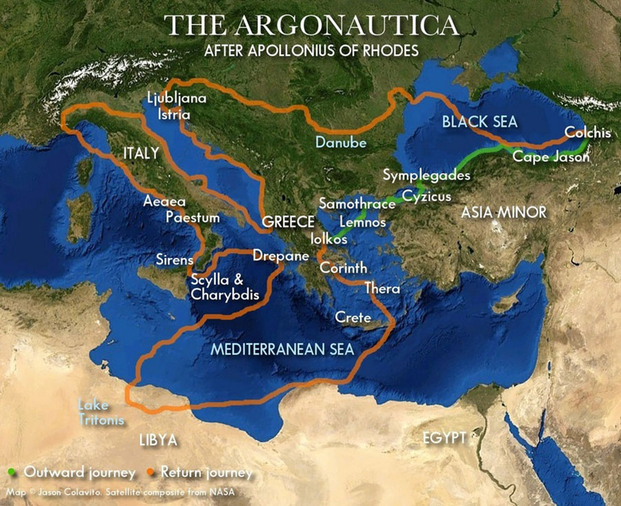 Argonauts route by Apollonius