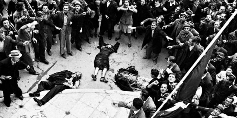A day that changed history: the bodies of unarmed protestors shot by the police and the British army in Athens on 3 December 1944. Photograph: Dmitri Kessel/Time & Life Pictures/Getty Images