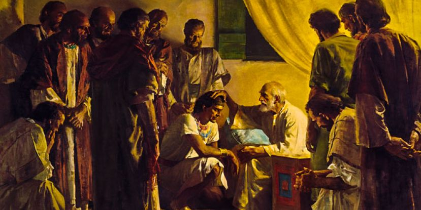 The biblical scene of Jacob blessing his sons