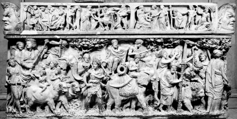The triumph of Dionysus, depicted on a 2nd-century Roman sarcophagus. Dionysus rides in a chariot drawn by panthers; his procession includes elephants and other exotic animals.